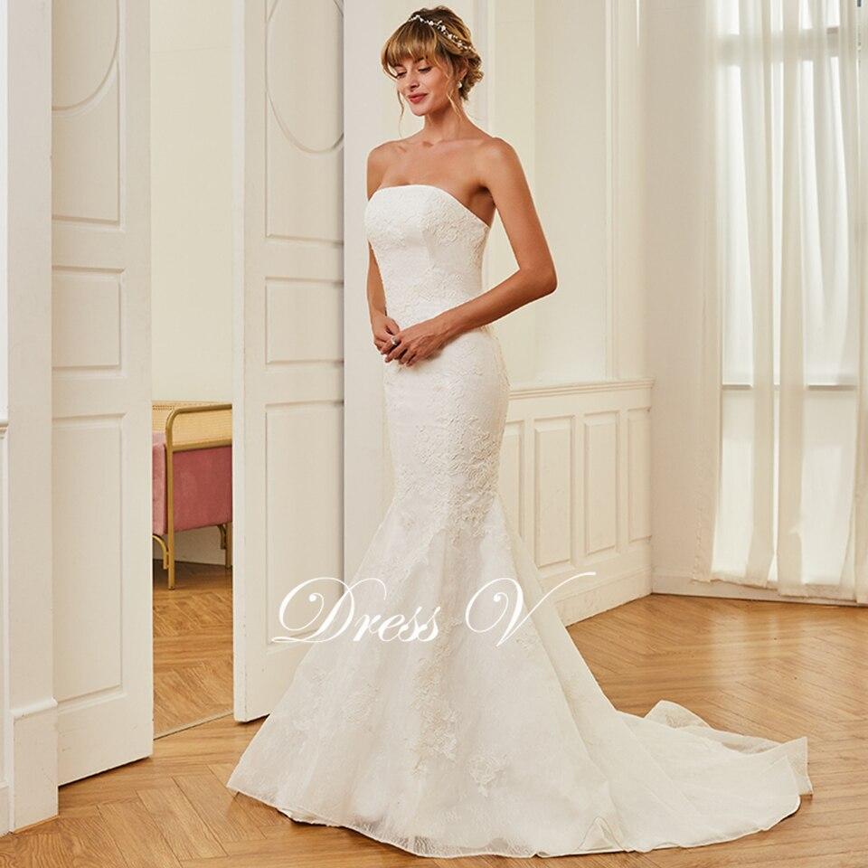 2a6cdc56ad2cb Dressv ivory elegant strapless wedding dress mermaid floor length  sleeveless bridal outdoor&church lace