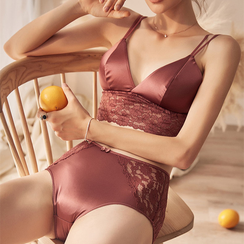 TERMEZY Women Thin Satin Lingerie High Waist Panties Soft Trim Bra and Panty Set Wire Free Underwear Women Solid Color Bras