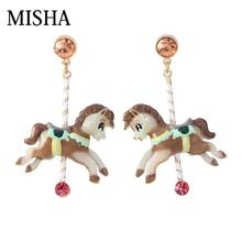 MISHA Luxury simulation Gems stud earrings Amusement park carousel Earrings Fine Jewelry birthday engagement gift top quality 73