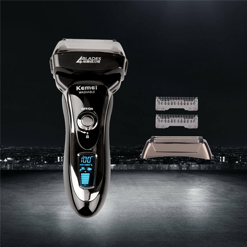 Kemei KM-5568 Electric Shaver Razor Reciprocating Four Blade Head Razor Men Machine Shaving LCD Display barbeador eletrico+Blade in 2017 the new primitive man shaving machine 4 d waterproof charging crime electric razor the three razor head man shaved the