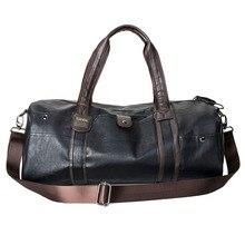 Men's Large Capacity PU Leather Sports Bag Gym Fitness Bad Duffel Tote Travel Shoulder Handbag Gym Sports Bag Black Brown