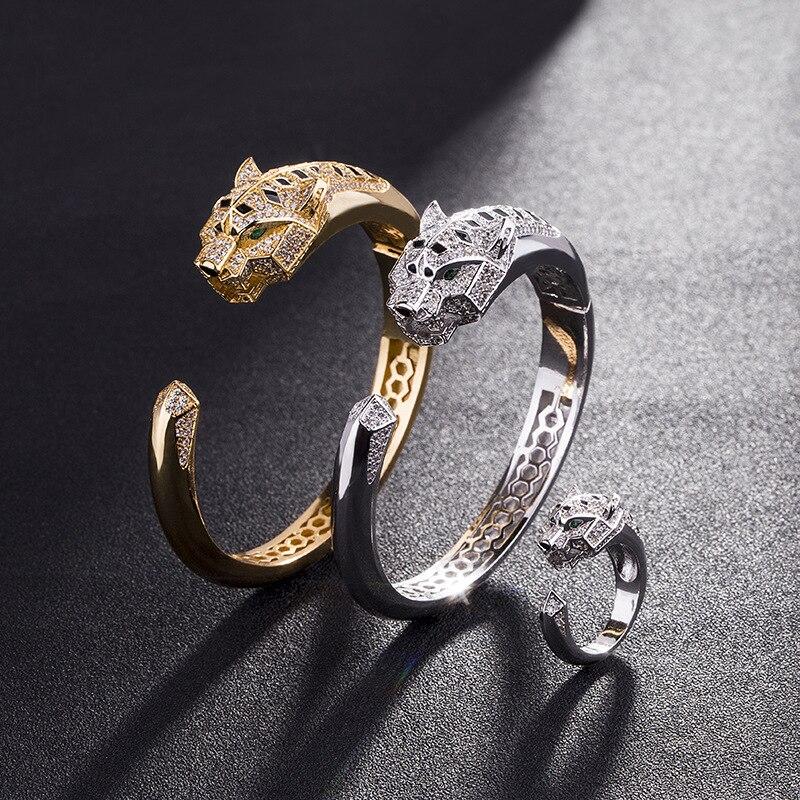 Bracelets de manchette de bijoux d'acier inoxydable Bracelets de main de dames Bracelet de léopard de cuivre de bijoux de Halloween