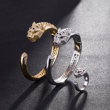 Stainless Steel Jewelry Cuff Bracelets Bangles  Ladies Hand Halloween Copper Leopard Bracelet