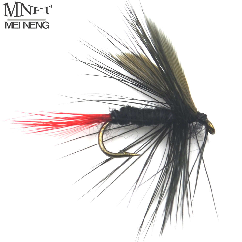 Mnft 10pcs 10 black gnat fly wet red tail fly fishing for Cheap fly fishing flies