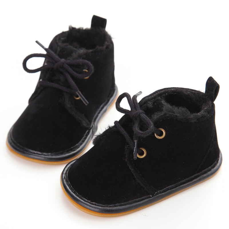 Delebao Brand Unique Winter Warm Baby Boots Non-slip Lace-up Pure Cotton Hook & Loop Sole Baby Shoes