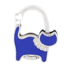 Ladies Blue Cat Design Rhinestone Handbag Purse Foldable Hook Hanger