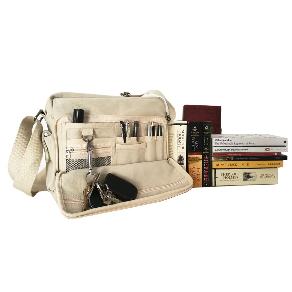 Retro Style Canvas School Bag College Multi-pocket Men Women Handbag Desinger Card Book Phone Storage Bag High Quality Luggage