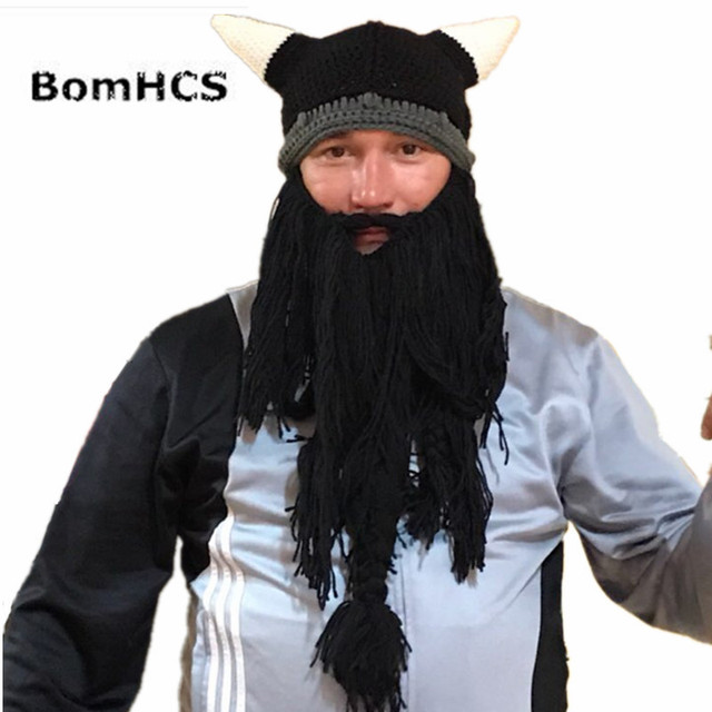 97bbacf7 BomHCS Funny Big Beard Horns Beanie Vikings Helmet Hat 100% Handmade  Knitted Winter Thick Cap Christmas Halloween Gift-in Skullies & Beanies  from ...