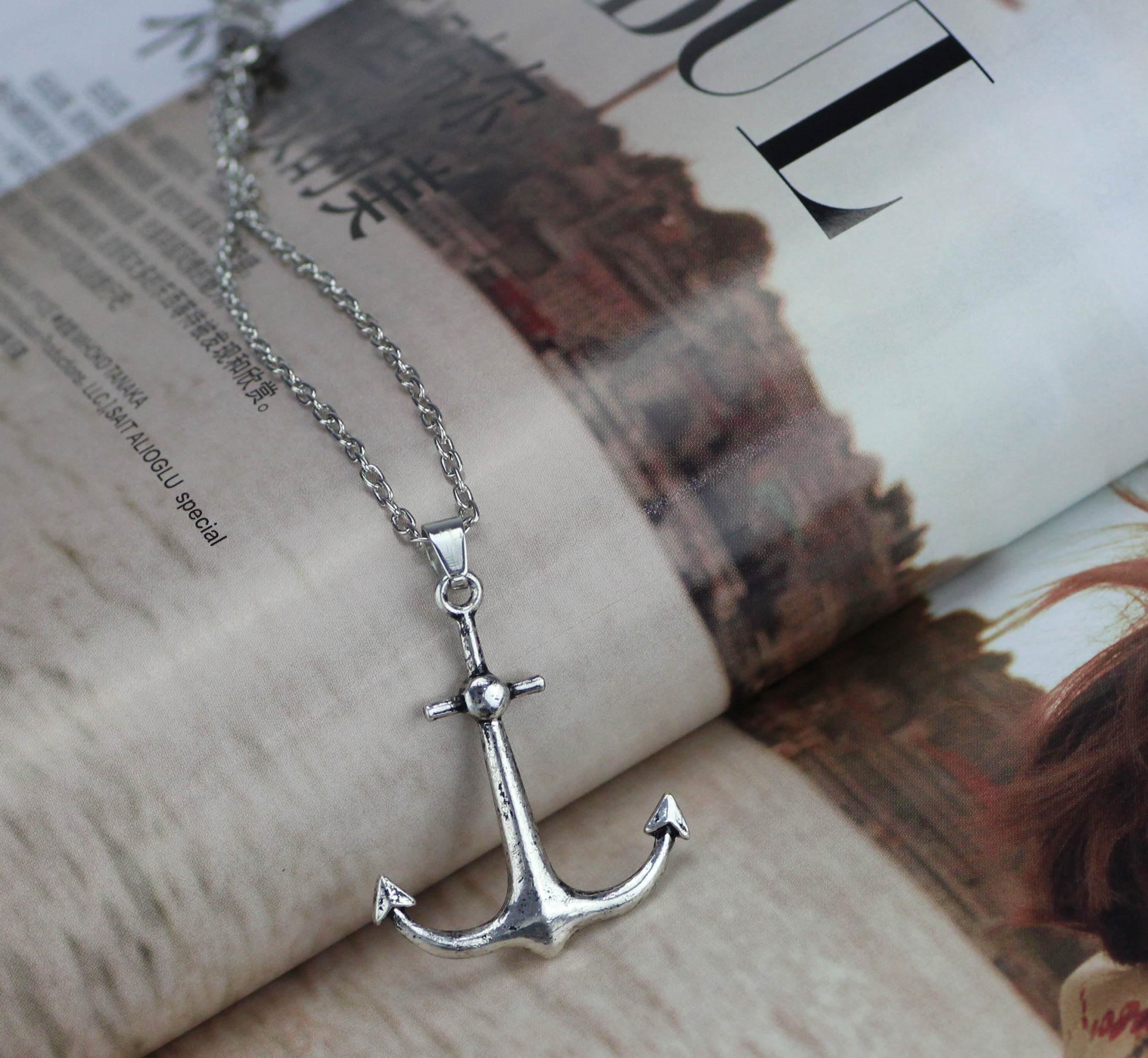 5 Antique Silver Plated Anchor Nautical Sailor Charms