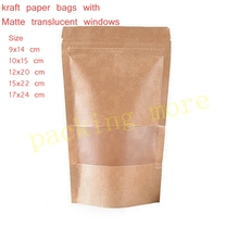 50pcs/lot,small Stand up Zipper lock Kraft paper packaging bag with Matte translucent window PE inside kraft paper pouch