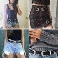 Novas Mulheres Da Moda Dupla Fivela de Cinto de Fivela De Metal PU Cinto Cintura Cinto Cinto Vintage Ampla Eastic Cinturones Mujer