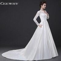 CEEWHY Open Back Lace Wedding Dress Long Sleeve Satin Wedding Gowns White Bride Dress Robe de Mariee Vestido de Noiva