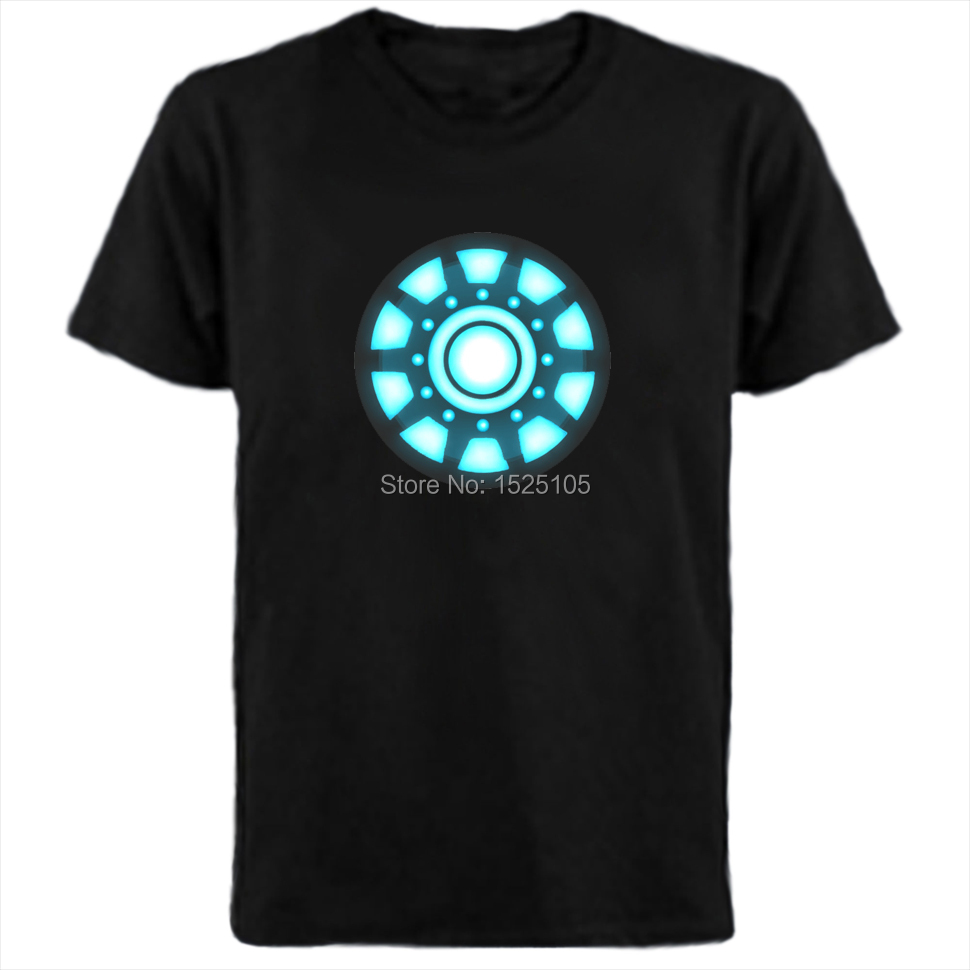 Super quality new design iron man led t shirt el t shirts How to design shirt