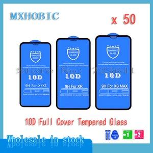 Image 1 - 50 pièces/lot 10D couverture complète Protection verre trempé pour iPhone X XS 11 Pro Max XR 8 7 6 6S Plus protecteur décran Film protecteur