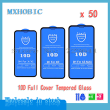 50pcs/lot 10D Full Cover Protection Tempered Glass For iPhone X XS 11 Pro Max XR 8 7 6 6S Plus Screen Protector Protective Film