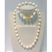 WEICOLOR Hot !10x15MM Water Drop White Natural Freshwater Pearl And Golden Bead Jewelry Set (necklace and bracelet),Magnet Clasp