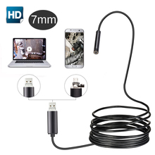 USB Endoscope Camera 7mm Lens 1m/2m Semi Rigid Tube Endoscope Borescope Video Inspection IP67 Waterproof for Android PC 720p tube endoscope 5 5mm 2m micro usb hd camera borescope inspection for pc android phone ip67 waterproof scope 6 white leds