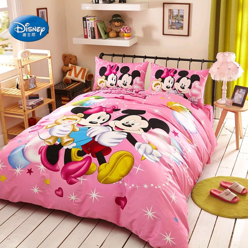 Disney Lovely Pink Mickey Mouse And Minnie Mouse Girls Children Duvet Cover Set 3 Or 4 Pieces For 1 2 And 1 5m Bed Birthday Gift Bedding Sets Aliexpress