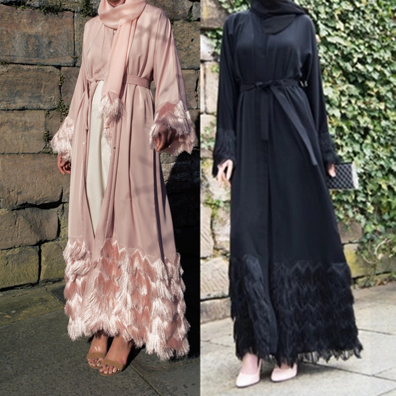 Elegant Muslimah Thicker Fabric Lace Abaya Turkish Full Length Jilbab Dubai Female Lace Sleeve Islamic Dress Wq1333 Dropship