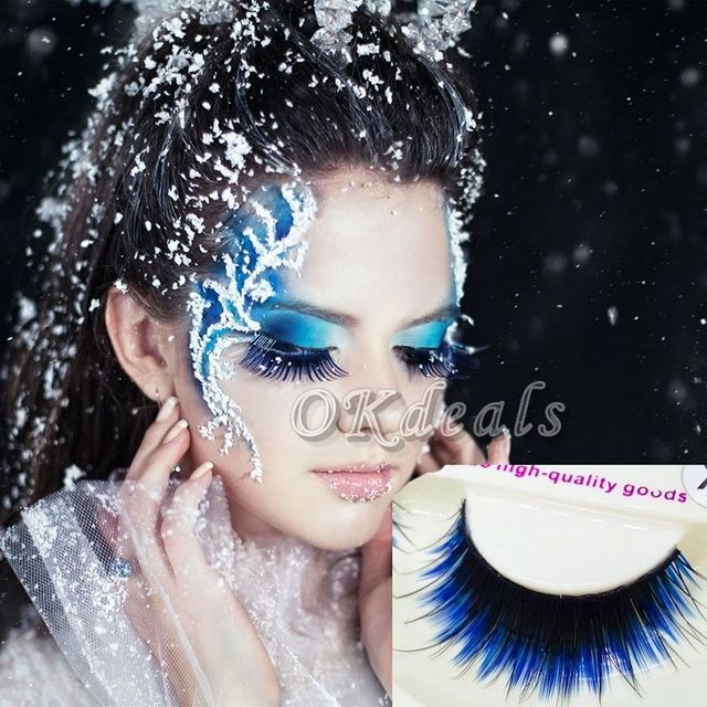 1 Pair of HOT Fashion Long Black Blue False Eyelashes Beautiful Makeup Eye Lashes Make Up Beauty Tools 2