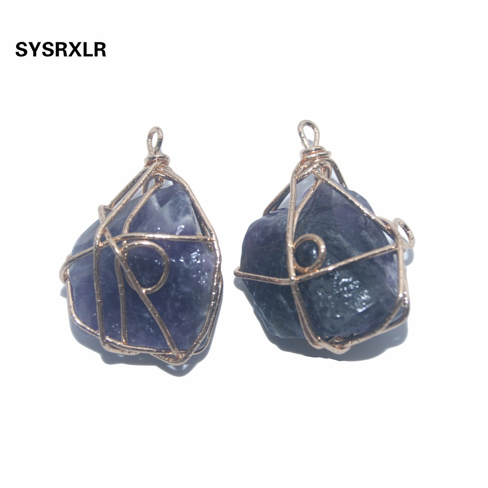 Wholesale 1 PCS Natural Rose Crystal Quartz Fluorite Pillar Amethysts Stone Pendant Winding DIY Fit Necklace For Jewelry Making in Charms from Jewelry Accessories