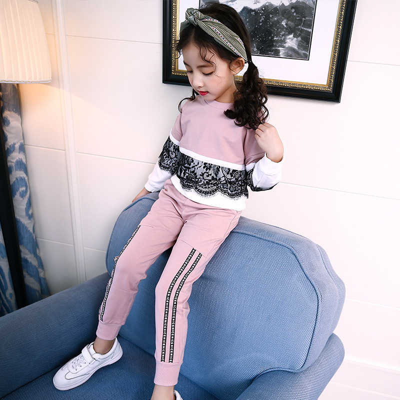 4 5 6 7 8 9 10 11 12 13 Years Autumn Clothing Set For Girls Teens 2017 Lace Sports Suits Long Sleeve T Shirt + Pant 2pcs Clothes 4 5 6 7 8 9 10 11 12 13t girls clothes set spring long sleeve shirt pant girls sports suit 2pcs print toddler girls clothing