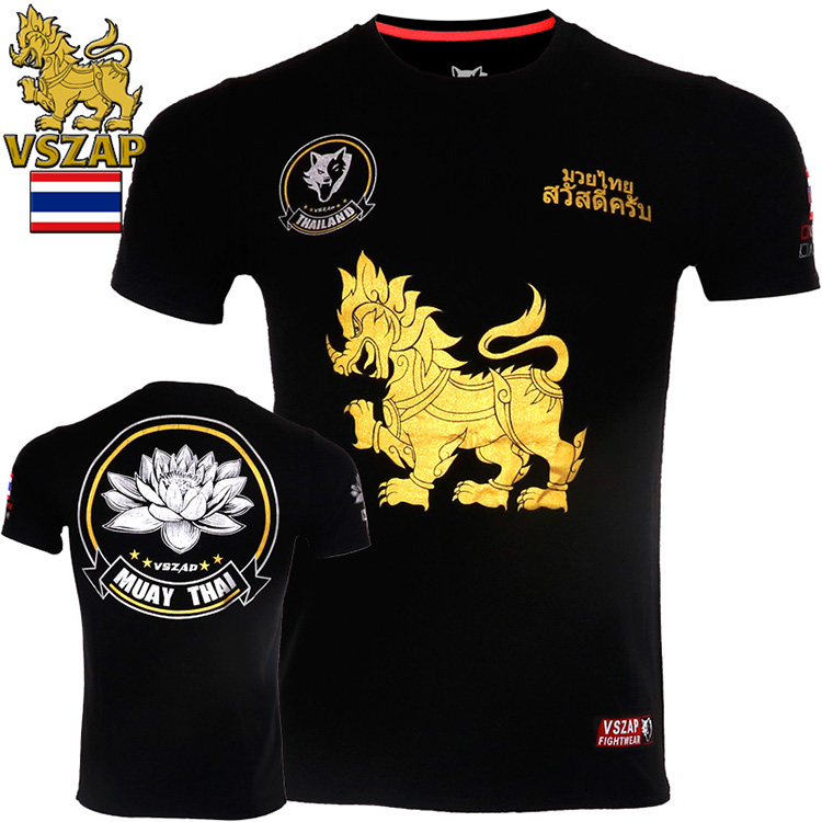 VSZAP Combat Sports Muaythai Lotus Training MMA Short-sleeved T-shirt Seeded For Muscle Martial Arts Wind  Men's Fitness Clot