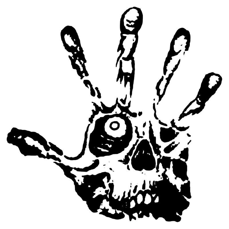 14CMX14CM Skull Eye Fingers Zombie Hand Vinyl Decals Car Stickers Black/Silver C1-3139