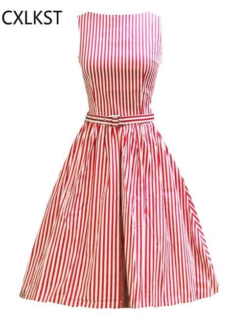 Cxlkst verano audrey hepburn estilo vintage 1950\'s de rayas sin ...
