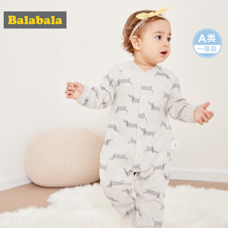 Balabala Infant Baby Boy Girl Cotton Jumpsuit with Baseball Collar Newborn Babys Jumpsuit with Front Snap Closure for Winter