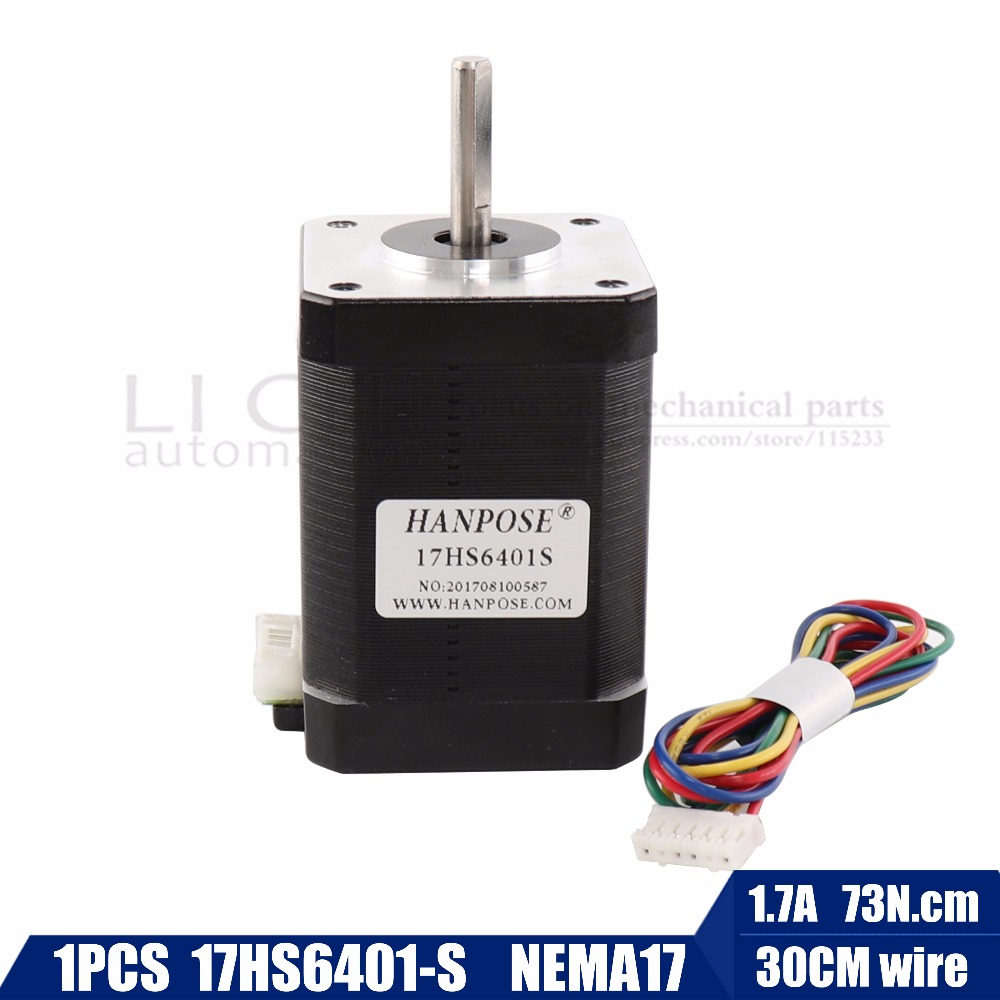 Free shipping 2-phase hybrid stepper motor nema17 motor 60mm (1.7A, 0.73NM, 60mm, 4-wire) nema 17 17HS6401 for 3D printer cnc free shipping stepper motor 17hs13 0404s l 33 mm nema17 with 1 8 deg 0 4 a 26 n cm and bipolar 4 wire