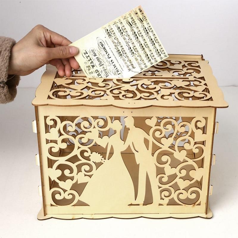DIY Wooden Wedding Card Box Cash Box  DIY Couple  Pattern Beautiful Wedding Decoration Supplies For Birthday Party