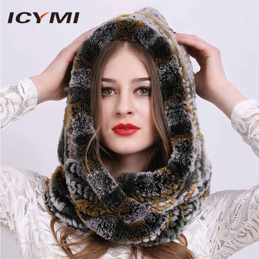 ICYMI Winter Hooded Hat Scarf Rex Rabbit Fur Knitted Cap Good Quality Real Fur Scarves & Hats Super Warm Women's Winter Hat