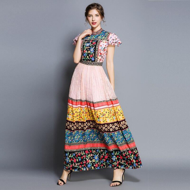 2019 nouveau créateur de mode piste Maxi robe à manches courtes femmes élégant bloc de couleur imprimé Floral Vintage longues vacances robes