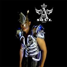 LL04 White blue color/men LED light luminous dancing ballroom costumes suit catwalk clothes bar singer party disco stage wears