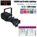 Профессиональный Сценический светодиодный профиль Prefocus 200 Вт  4 цвета  COB лампа  ручной регулируемый угол луча  фокусировка/каркас затвора