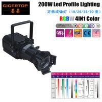 Professional Stage 200W Led Prefocus Profile Light RGBW 4 Color COB Lamp Manual Adjustable Beam Angle Focus/ Framing Shutter