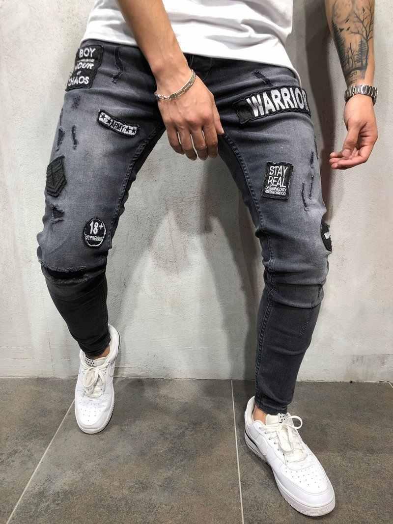 Jeans Skinny Men 2020 New Pantalones Rotos Men Men S Tight Black Hole Pantalon Jean Men Badge Sticks Feet Jeans Men Skinny Jeans Aliexpress