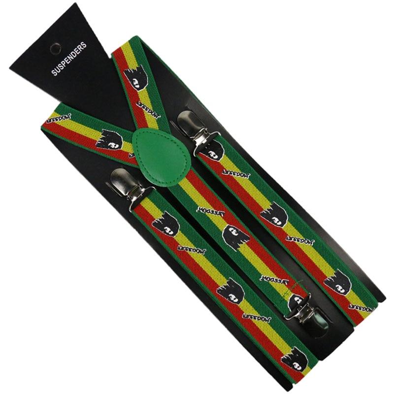 Winfox Fashion 2.5cm Wide Suspenders Rainbow Stripe Pattern Women Men Suspenders Elastic Y-back Letter Suspender