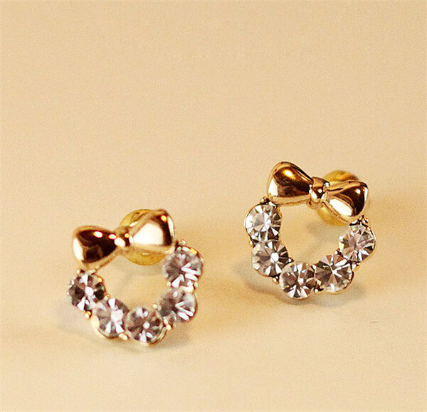 Free Shipping Korean Jewelry High Quality Simple Pattern Bowknot Stud Earrings Gold Plated For Women Fashion Earings Ear Rings On Aliexpress Alibaba
