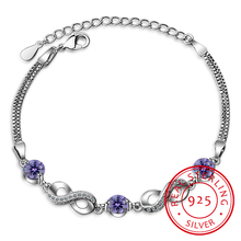 Authentic 925 Sterling Silver Endless Love Infinity Chain Link Adjustable Women Bracelet Luxury Silver Jewelry Scb037 eleshe 925 sterling silver infinity bracelet pulseras jewelry with austrian crystal adjustable chain charm bracelet wedding gift