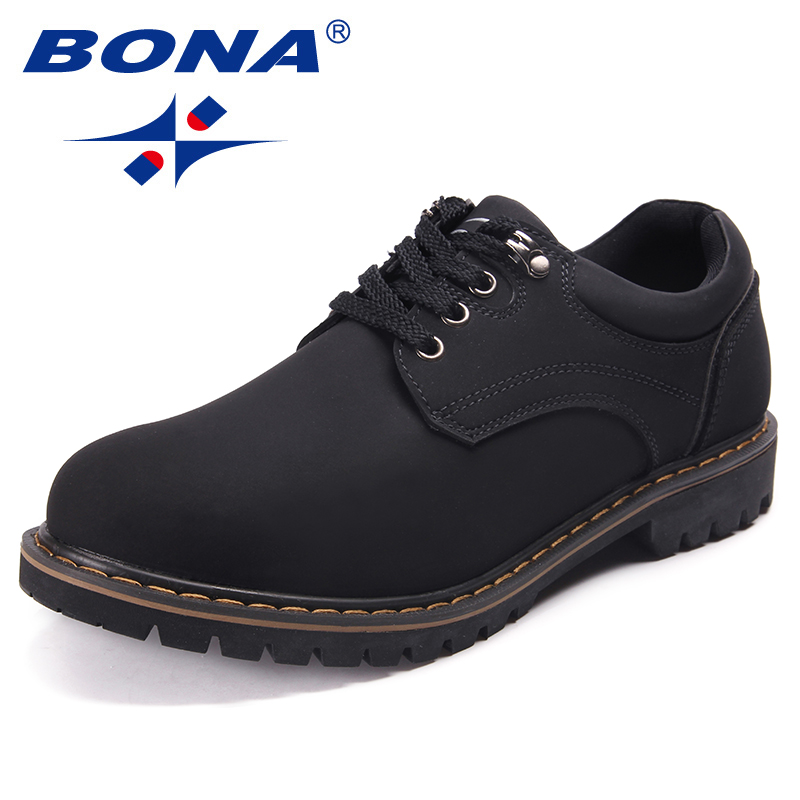BONA New Fashion Style Men Casual Shoes Action Leather Men Oxfords Lace Up Men Working Shoes