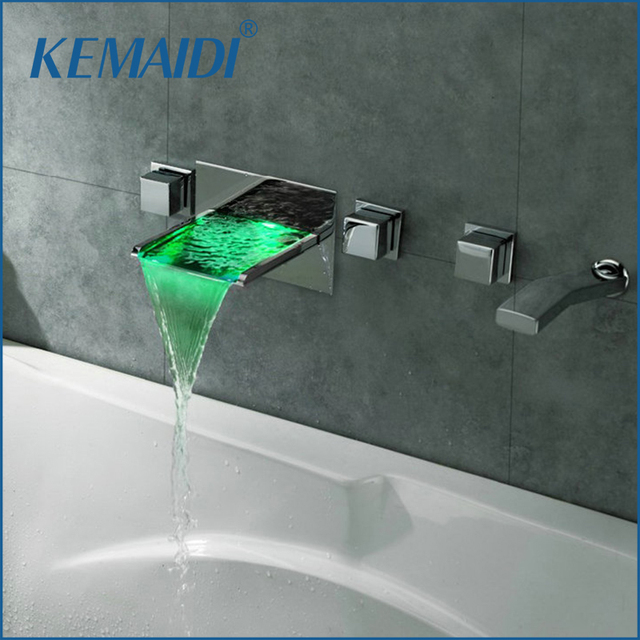 KEMAIDI Wall Mounted Bathroom Faucets 5 Holes Temperature Sensor LED  Waterfall Faucets Bathtub LED Faucet Set