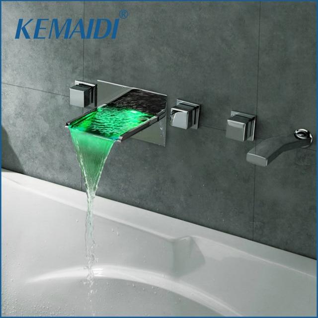 Armaturen badewanne  KEMAIDI Wand Montiert Badarmaturen 5 Löcher Temperatursensor LED ...