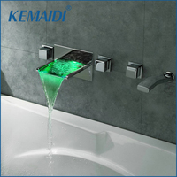 KEMAIDI Wandmontage Badkamer Kranen 5 Gaten Temperatuursensor LED Waterval Kranen Bad LED Kraan Set JN6603