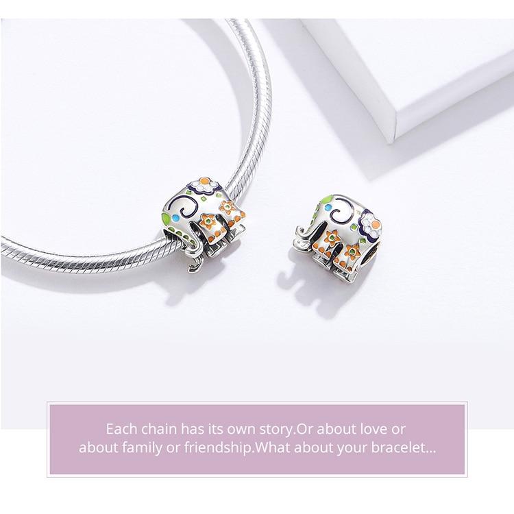 HTB1v70WXhv1gK0jSZFFq6z0sXXaE WOSTU Colorful Happy Elephant Beads Genuine 925 Sterling Silver Charms Fit Original Bracelet Pendant Jewelry Gift CTC095