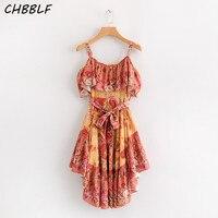 CHBBLF women sexy spaghetti dress ruffled sleeveless ladies chic mini dresses pleated vestidos S1470