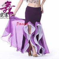 New 2015 Dance Skirt 9color Belly Dance Dress Double Split Skirt For Belly Dance Free Size