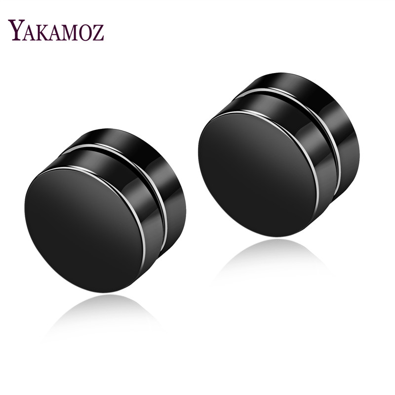 YAKAMOZ Punk Style Black Steel Earrings for Men Fashion Smooth Stud Earring Titanium Round Earrings Male Jewelry Hip Hop Gifts