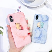 Cute 3D Sea Shell Pearl Plastic Mobile Phone Cases For IPhone6 6S 6Plus Cold Clean Marble